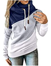 Simayixxch Cowl Neck Sweatshirts for Women Drawstring Hooded Pullover Blouse Color Block Hoodies Long Sleeves Tunic Tops