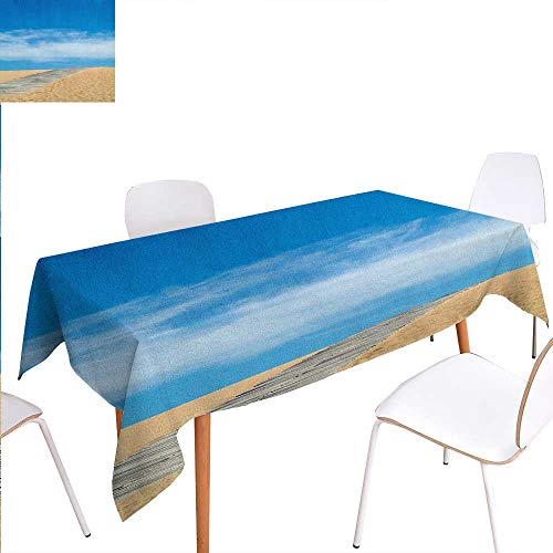 Warm Family Beach Dinner Picnic Table ClothWooden Path Over a Sand Dune Secret Paradise Beach for Recreation and Clam Photo Waterproof Table Cover for Kitchen 60