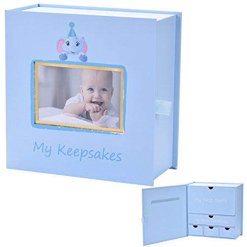 Baby Keepsake Box, First Year Baby Memory Box Set: Record Your Girls or Boys First Mementoes! Babies Keepsake Journal box, Gift Box for Newborn Boy or (Memory Box Keepsake Box)
