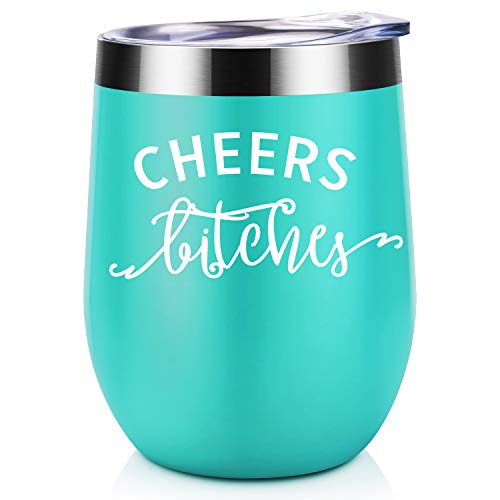 Cheers Bitches | Coolife 12 oz Stainless Steel Novelty Wine Tumbler Insulated Stemless Funny Sippy Cup with Lid and Straw | for Bachelorette Party, Weddings, Birthday, Graduation, Christmas