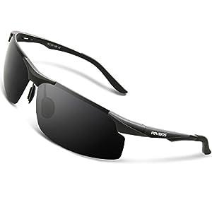 RIVBOS Polarized Sports Sunglasse for Men Women, Glasses for Cycling Running Fishing Golf Baseball Fashion Metal Frames RBS091 (Black)