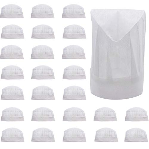 25 Disposable Paper Chef Hats Toques Adult or Kid Pizza Party Favors  Decorations a166446ac0b