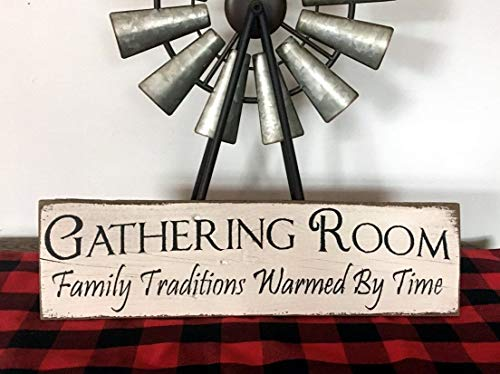 - Gathering Room Family Traditions Warmed by Love Farmhouse Decorvintage Wood Sign Rustic Wooden Signs Wood Block Plaque Wall Decor Art Home Decoration - 6x20 inch