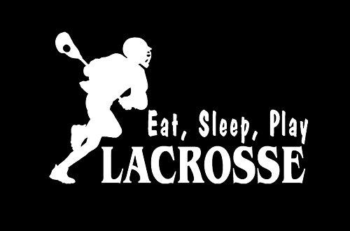 Makarios LLC Eat Sleep Play Lacrosse Decal Vinyl Sticker Cars Trucks Vans Walls Laptop MKR| White |5.5 x 1.25|MKR322 -