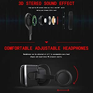 VR Headset for iPhone & Android Phone,3D VR Glasses for TV,Movies & Video Games,VR Headset with Remote Controller,Virtual Reality Headset for iPhone/Android Phone Compatible 4.7-6 inch (Color: vr headset with remote)