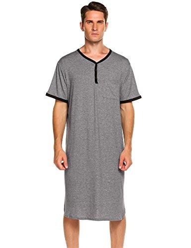 db854248099 Ekouaer Men s Night Shirt Cotton Pajama Short Sleeve Henley Nightwear