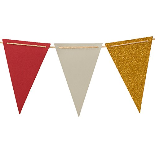 Ling's moment 10 Feet Vintage Style Pennant Banner, Paper Triangle Flags Bunting for Wedding, Baby Shower, Halloween & Party Supplies, 15pcs Flags(Gray+Red+Gold Glitter) (Halloween Kraft Dinner)