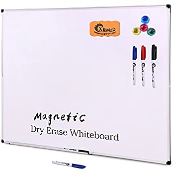 XBoard Double-Sided 36 x 24 Inch Magnetic Dry Erase Board Set - Wall Mounted 3' x 2' Reversible Whiteboard with 1 Dry Eraser & 3 Dry Erase Markers & 4 Push Pin Magnets