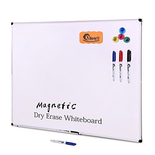 XBoard Double-Sided 36 x 24 Inch Magnetic Dry Erase Board Set - Wall Mounted 3' x 2' Reversible Whiteboard with 1 Dry Eraser & 3 Dry Erase Markers & 4 Push Pin Magnets Dry Erase Board Set