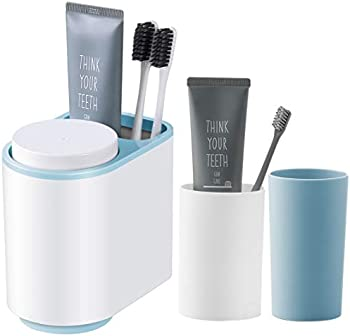 iHEBE Wall Mount 2 Cups Magnetic Electric Toothbrush Storage Shelf