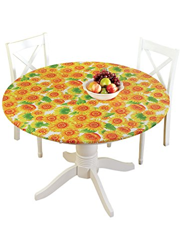 Carol Wright Gifts Indoor/Outdoor Fitted Tablecloth, Color Sunflower, ()