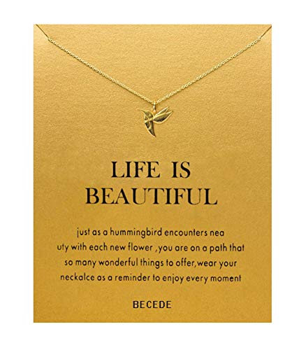 BECEDE Card Necklace Luck Bird Pendant Chain Necklace with Meaning Card (Luck Bird-Gold) ()