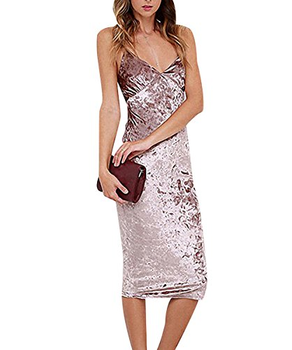 Damen Samt Kleid Riemenkleid Chic Samtkleid Cocktailkleid Ballkleid ...