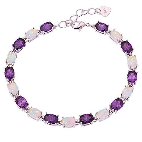 CiNily White Fire Opal Amethyst Women Jewelry Gemstone Rhodium Plated Bracelet 8 1/8