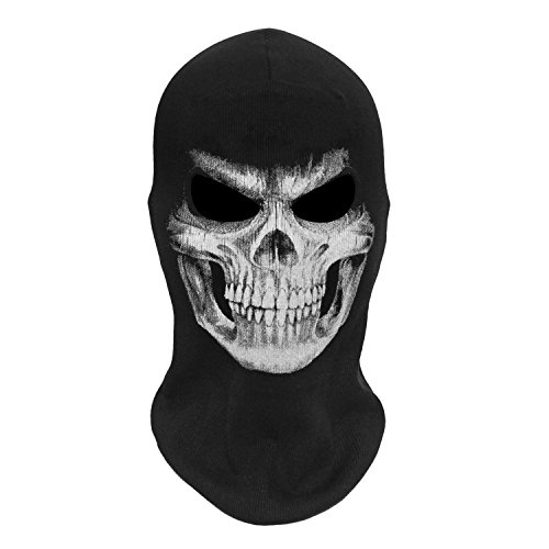 JIUSY Skeleton Skull Balaclava Ghost Death Neck Warmer Face Mask Headwear Protection for Motorcycle Cycling Skiing Snowboarding Cosplay Costume Halloween Party Winter Summer Grim03 Simple Design Black -
