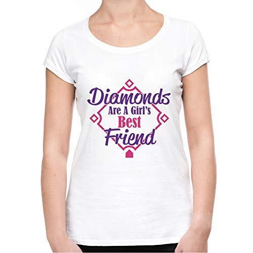 Pink T Friend shirt Diamonds Visual Basics Best Bianco Girl's Are A In Donna 8TqxfZ