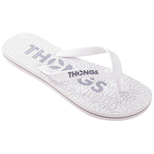 Tongs Hommes En Caoutchouc Nouveau Flip Flops - Sandales Blanc Print Design