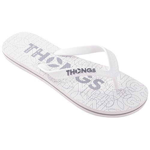 Thongs Mens Rubber New Flip Flops - Sandals White Print Design cHifVYADX