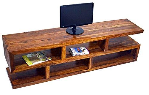 TimberTaste SLINE Solid Wood TV Entertainment Unit (Teak Finish)