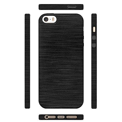 iPhone SE, 5S, 5 Silikon Hülle, Conie Mobile Brushed Case Schlanke Schutzhülle TPU Handyhülle Backcover Rückschale in Schwarz