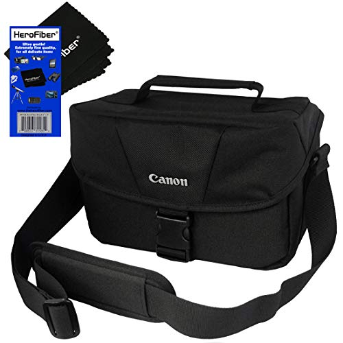 Canon Well Padded Compact Multi Compartment SLR Digital Camera Gadget Bag with Adjustable Shoulder Strap + HeroFiber Ultra Gentle Cleaning Cloth for Canon Digital SLR ()