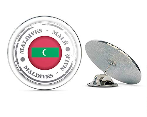 "Male Maldives Flag Stamp Round Metal 0.75"" Lapel Pin Hat Shirt Pin Tie Tack Pinback"