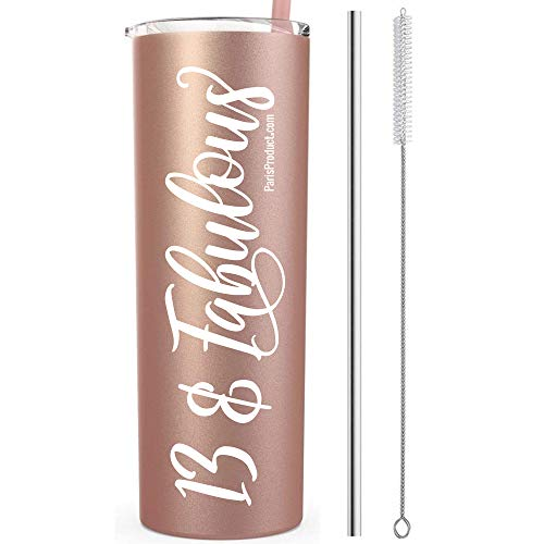 13 & Fabulous 20 Oz Stainless Steel Rose Gold Tumbler | Gifts For 13 Year Old Girl | 13th Birthday Party Supplies For Girls | 13th Birthday Gifts For Girls | 13th Birthday Decorations | Birthday Gifts (Birthday Party For 13 Yr Old Girl)