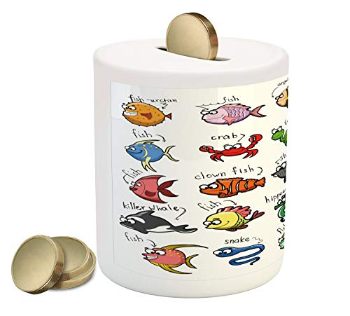 Lunarable Marine Piggy Bank, Aquarium Cartoon Octopus Dolphin Shark Whale Clown Fish Jellyfish Hermit Crab Marine, Printed Ceramic Coin Bank Money Box for Cash Saving, Multicolor