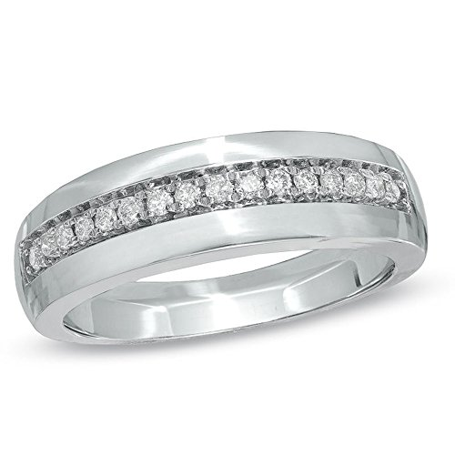 Silvernshine Jewels 0.16 Cts D/VVS1 CZ Ladie's Wedding Band Ring With 14Kt White Gold Finish Silver by Silvernshine Jewels (Image #1)