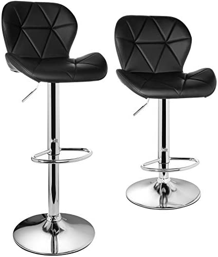 BAHOM Adjustable Swivel Bar Stools Set of 2 Modern PU Leather Counter Height Bar Chairs