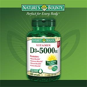 Bounty vitamine D3 5000 UI de Nature, 300 gélules