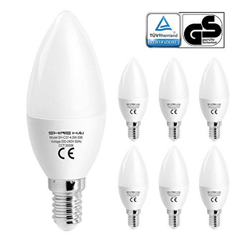 SHINE HAI® E14 LED Lampen,E14 C37 4,5W LED Kerzenlampe,Ersatz für 40W Glühlampen, 350lm,3000K,Warmweiß,230V,200º Abstrahlwinkel,E14 LED Birnen,LED Kronleuchter,LED Kerzenlampen, LED Kerzenleuchten, 6er Pack