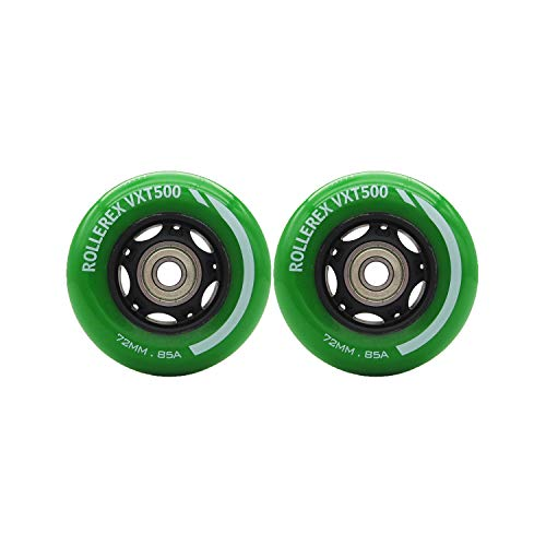 Spacer Replacement - Rollerex Inline Skate/Rollerblade Wheels VXT500 80mm (8-Pack or 2-Pack or 2 Wheels w/Bearings, Spacers and Washers) (72mm Turf Green (2 Wheels w/Bearings, spacers and washers))