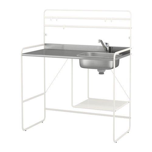 MINI KITCHEN BATHROOM STORAGE ORGANIZATION LAUNDRY ROOM SPACE SAVER STAINLESS STEEL SINK REVERSIBLE SHELF ADJUSTABLE FEET 55'' X 44'' X 22'' by IKEA