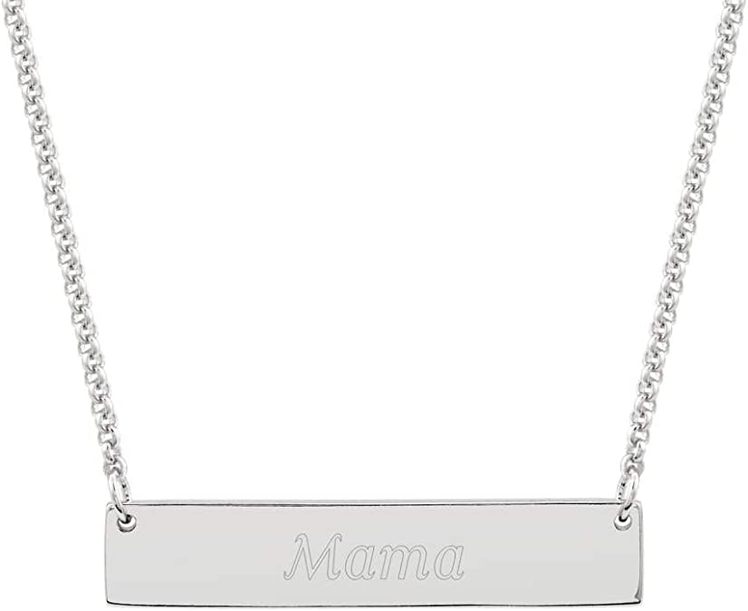 Silver on the Web Sterling Silver Mama Bear Bar Necklace 16 with 2 Extender