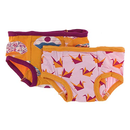 Kickee Pants Little Girls Training Pants Set - Lotus Origami Crane and Apricot Fans, 2T/3T ()