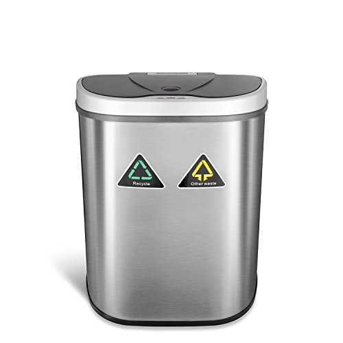 Ninestars DZT-70-11R Automatic Touchless Motion Sensor Semi-Round Trash Can/Recycler, 18.5 Gal. 70 L, Stainless Steel (Trash Hands Can Free)