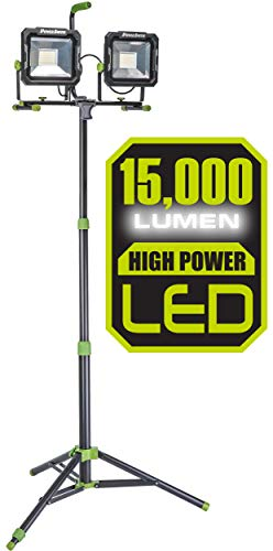 PowerSmith PWL2150TS 15,000 Lumen LED Dual Head work light with Heavy-Duty Adjustable Metal Telescoping Tripod Stand Black and Green (Best Led Work Light)