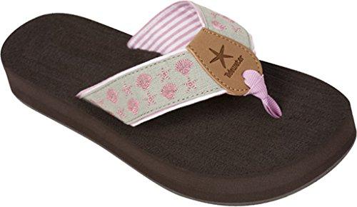 Tidewater Sandals Womens Harbor Flip Flop Pink Gray Stars Us 7 M