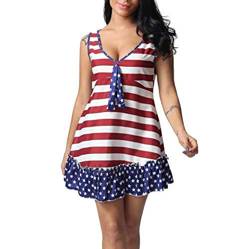 US Flag Print V-Neck Sleeveless Casual Mini Stripe Dress Red ()