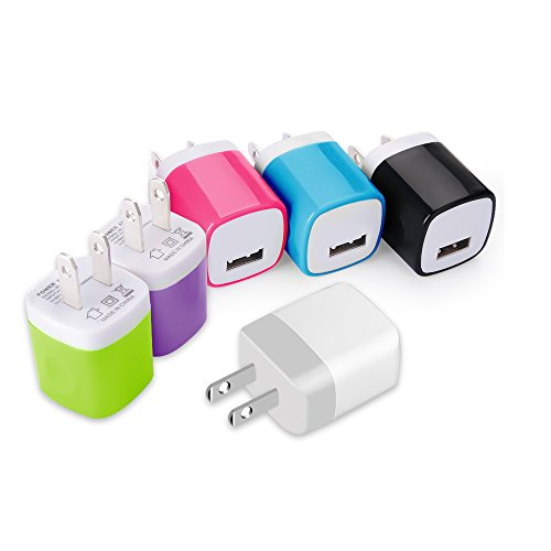 Power Adapter Wall Charger, Easy Grip Home Travel Wall Charger Adapter for iPhone 7/7 Plus 6/6 Plus 5S Samsung Galaxy S7 S6 S5 Note 5 HTC One M8 LG G2 G3 (6Pack) ()
