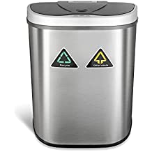 Ninestars DZT-70-11R Automatic Touchless Motion Sensor Semi-Round Trash Can/Recycler, 18.5 Gal. 70 L, Stainless Steel
