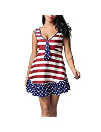 Ladies Fashion Independence Day Flag Print Ruffle Mini Dress