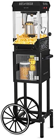 "Nostalgia KPM220CTBK 2.5 ounces Professional Popcorn & Concession Cart with 5 Quart Bowl, 45"" Tall, Makes 10 Cups, with Kernel & Oil Measuring Spoons & Scoop, 11"" Wheels for Easy Mobility, Black"