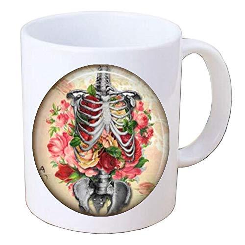 Flower Skeleton Coffee Mug,skull Coffee Mug,halloween jewelry,flower skull Mug,Handcrafted Valentine Love Keepsake Gift,BV399