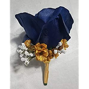 Navy Blue Gold Rose Corsage or Boutonniere 37