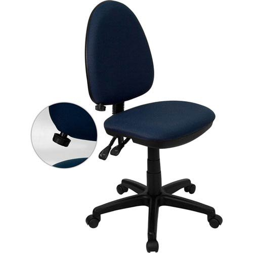 Parkside Mid-Back Navy Blue Fabric Multi-Functional Swivel Task Chair with Adjustable Lumbar Support