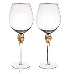 Gold Rimmed With Rhinestone Wine Glass Set of 2
