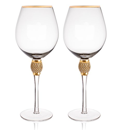 Gold Rimmed Wine Glasses (Trinkware Set of 2 Wine Glasses - Rhinestone