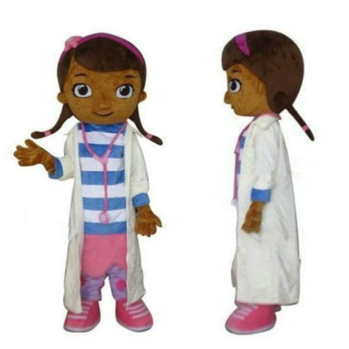 100% Real Picture happy family Costume Doc Mcstuffins Mascot Costume Dottie Mcstuffins Costumes Character Doctor Costumes Girl Mascot (Large: (175-180) )
